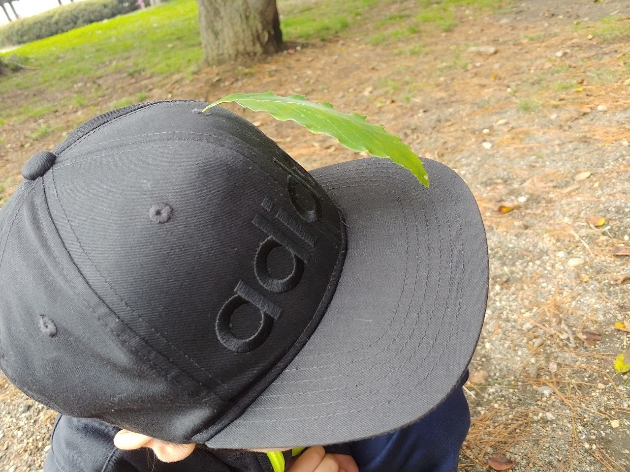 葉っぱで帽子に飾りをつけました